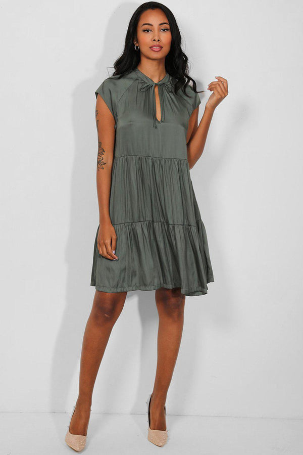 Khaki Soft Silk Touch Tiered Midi Dress - SinglePrice