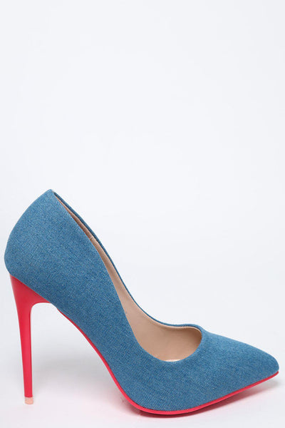 Pink Heel Light Denim Stiletto Heels-SinglePrice