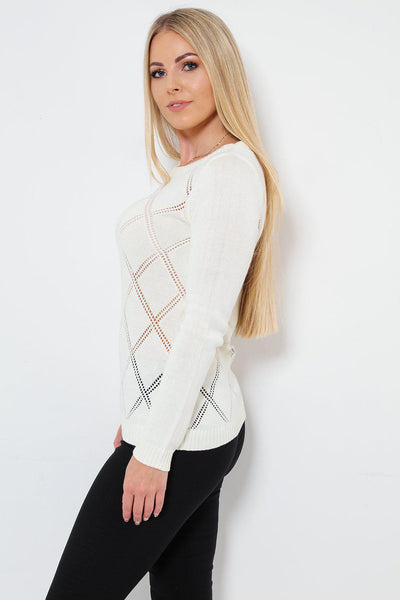 Perforated Argyle Knit Off White Jumper-SinglePrice