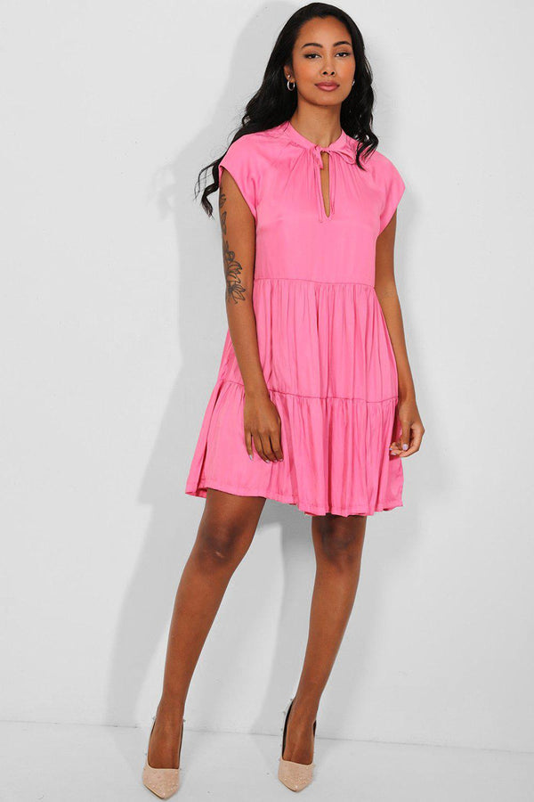Barbie Pink Soft Silk Touch Tiered Midi Dress - SinglePrice