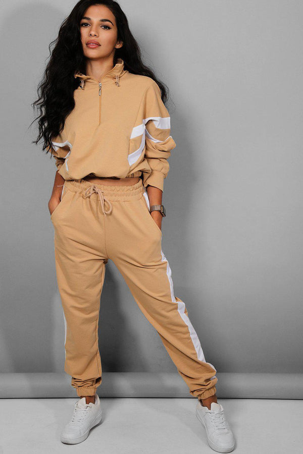 Beige White Stripe Details Racer Two Piece Tracksuit - SinglePrice
