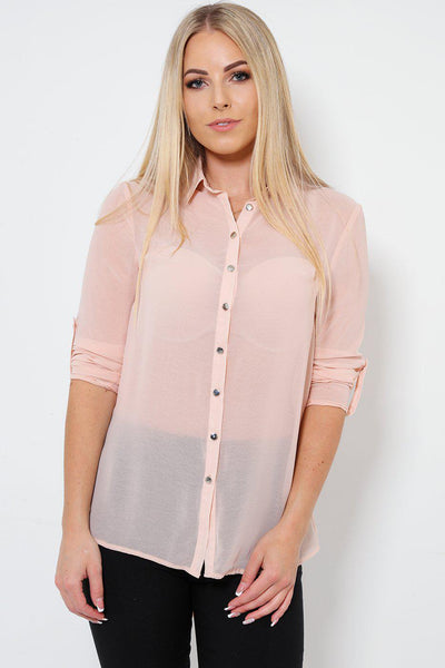 Sheer Chiffon Buttoned Up Pink Blouse-SinglePrice