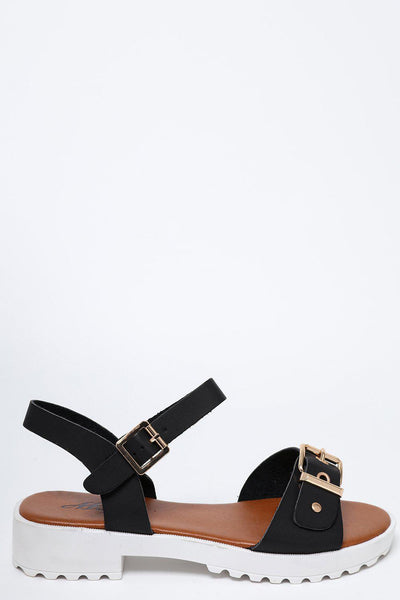 White Cleated Platform Black Sandals-SinglePrice