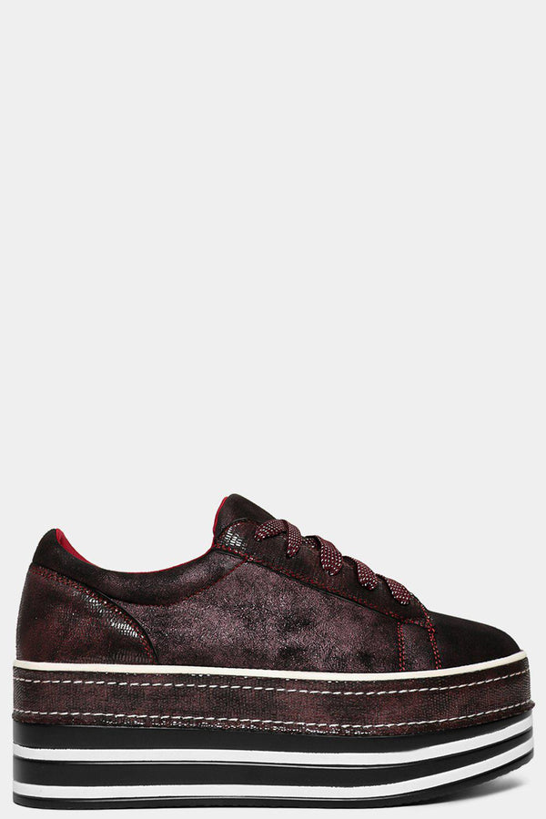 Wine Shimmer Aged Vegan Leather Chunky Oxford Shoes - SinglePrice