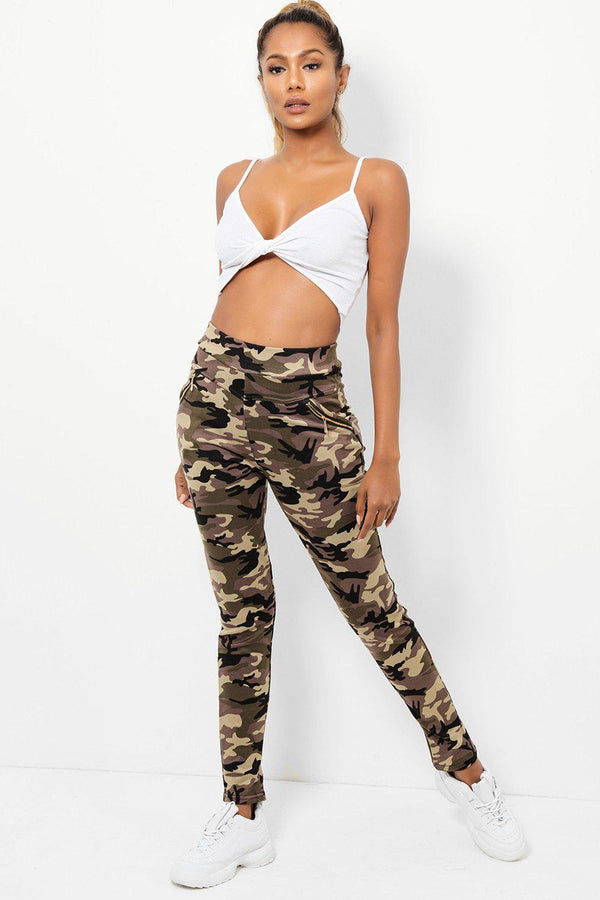 Beige High-Rise Waist Camouflage Leggings-SinglePrice