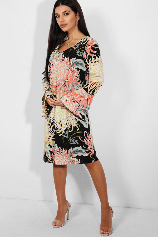 Black Yellow Floral Print Flute Sleeve Chiffon Dress - SinglePrice