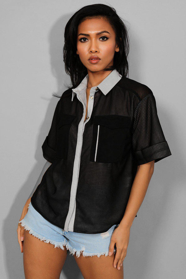 Black Textured Mesh Short Sleeved Shirt - SinglePrice