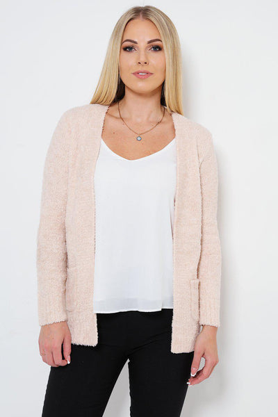 Boucle Knit Pocketed Open Front Pink Cardy-SinglePrice