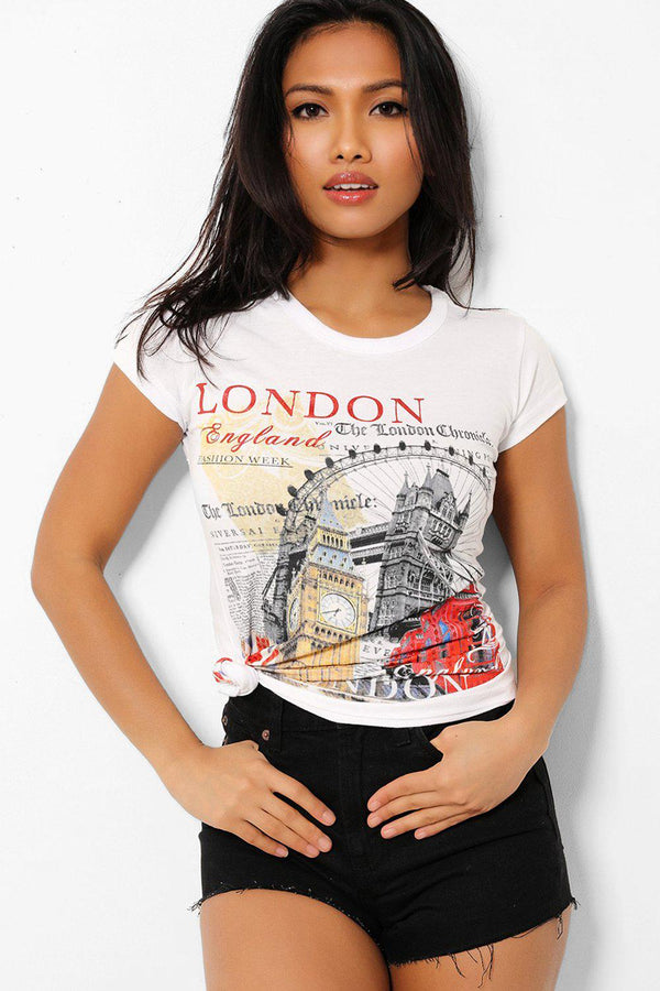 London Attractions Print White T-Shirt-SinglePrice