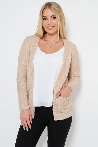 Boucle Knit Pocketed Open Front Beige Cardy-SinglePrice