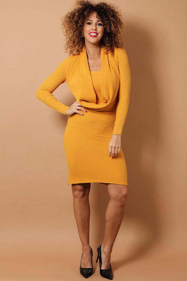 Mustard Deep Cowl Neck Soft Rib Knit Midi Dress - SinglePrice