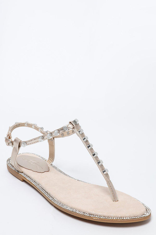 Studded T-Bar Light Gold Flat Sandals-SinglePrice