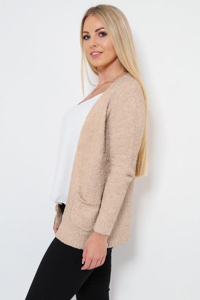 Boucle Knit Pocketed Open Front Beige Cardie - SinglePrice