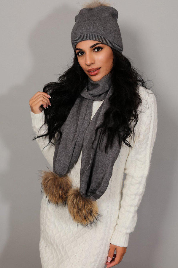 Grey Knit Faux Fur Pom-Poms Hat And Scarf Set - SinglePrice
