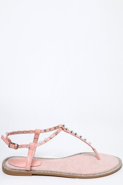 Studded T-Bar Pink Flat Sandals-SinglePrice