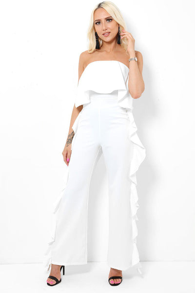 White Side Ruffles Bandeau Jumpsuit-SinglePrice