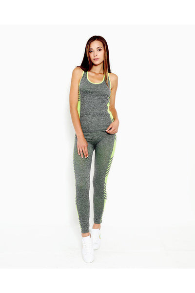 Grey Neon Green Top And Leggings Sports Set-SinglePrice