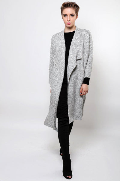 Open Front Grey Long Cardigan-SinglePrice
