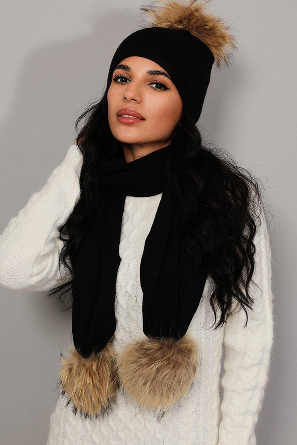 Black Knit Faux Fur Pom-Poms Hat And Scarf Set - SinglePrice