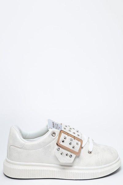 Studded Buckle White Platform Silver Finish Trainers-SinglePrice