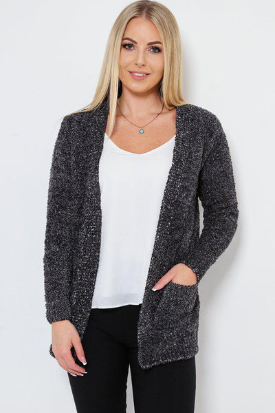 Boucle Knit Pocketed Open Front Black Cardy-SinglePrice