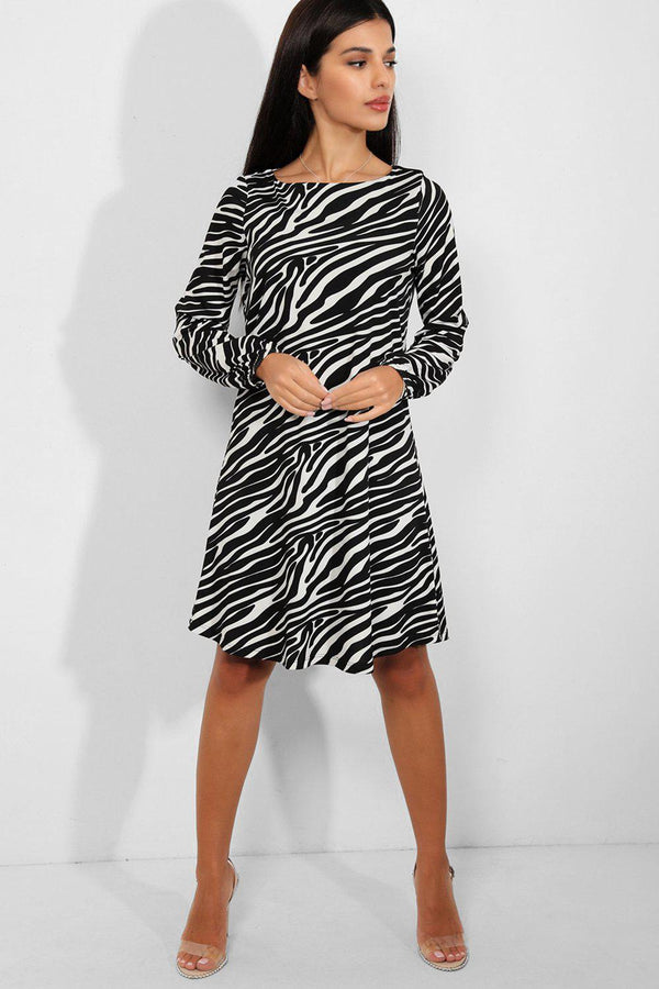 Black White Zebra Print Swing Dress - SinglePrice