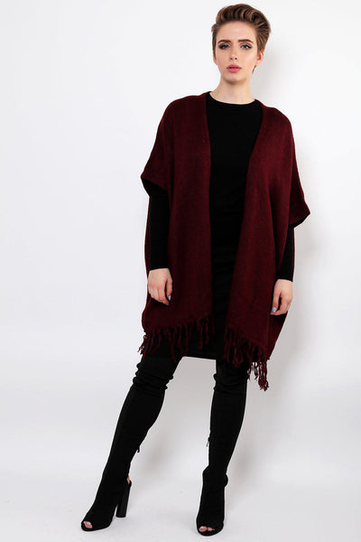 Burgundy Square Knitted Cardy-SinglePrice
