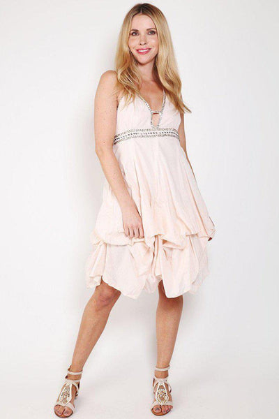 Pink Sequins Embellished Halterneck Dress-SinglePrice