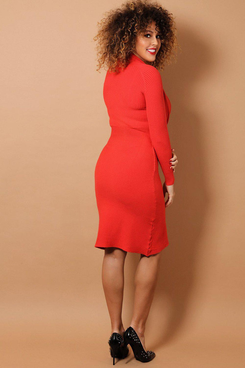 Brick Deep Cowl Neck Soft Rib Knit Midi Dress - SinglePrice