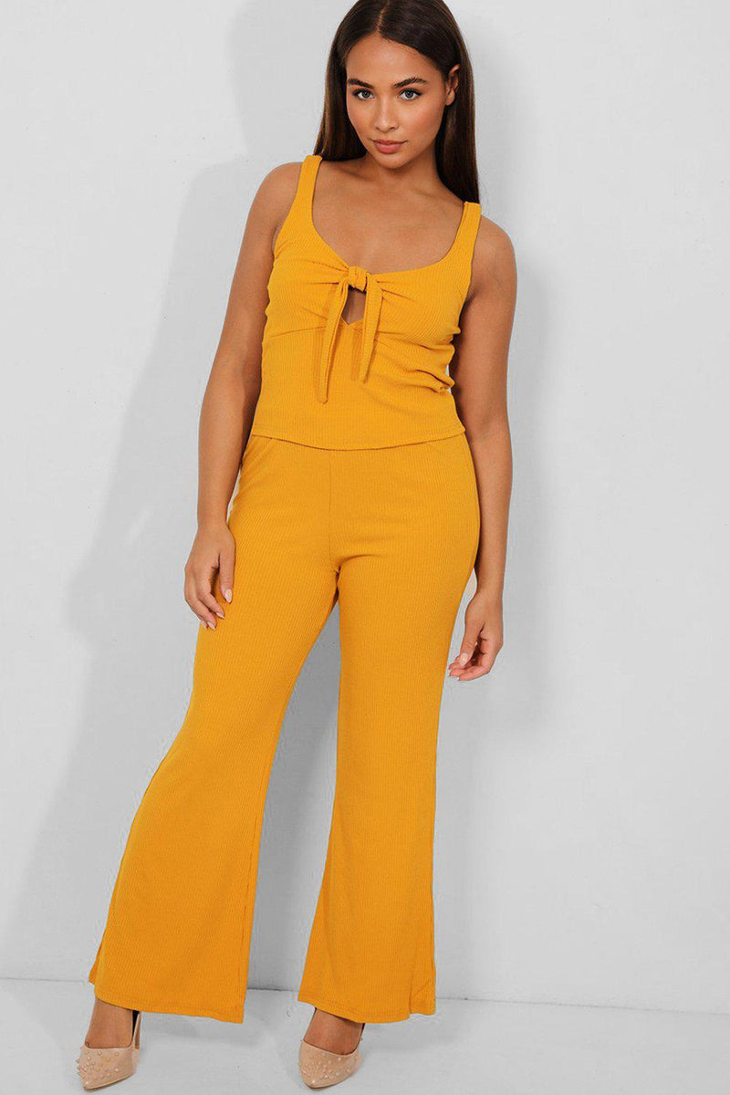 Mustard Peek-a-Boo Ribbed Flared Leg 2 Piece Set - SinglePrice