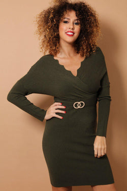 Khaki Scallop Wrap Neck Soft Knit Bodycon Dress-SinglePrice