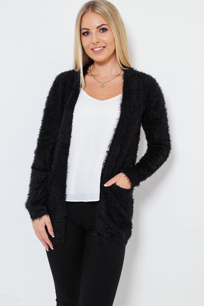 Black Fluffy Knit Cardigan-SinglePrice