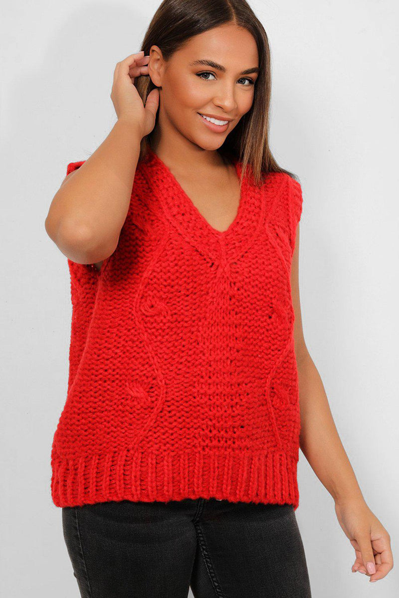 Red Chunky Knit Vest Jumper - SinglePrice
