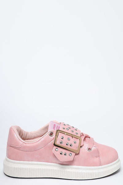Studded Buckle White Platform Pink Trainers-SinglePrice