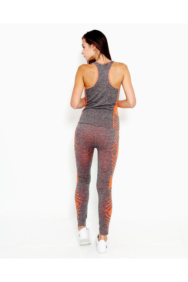 Grey Orange Top And Leggings Sports Set-SinglePrice