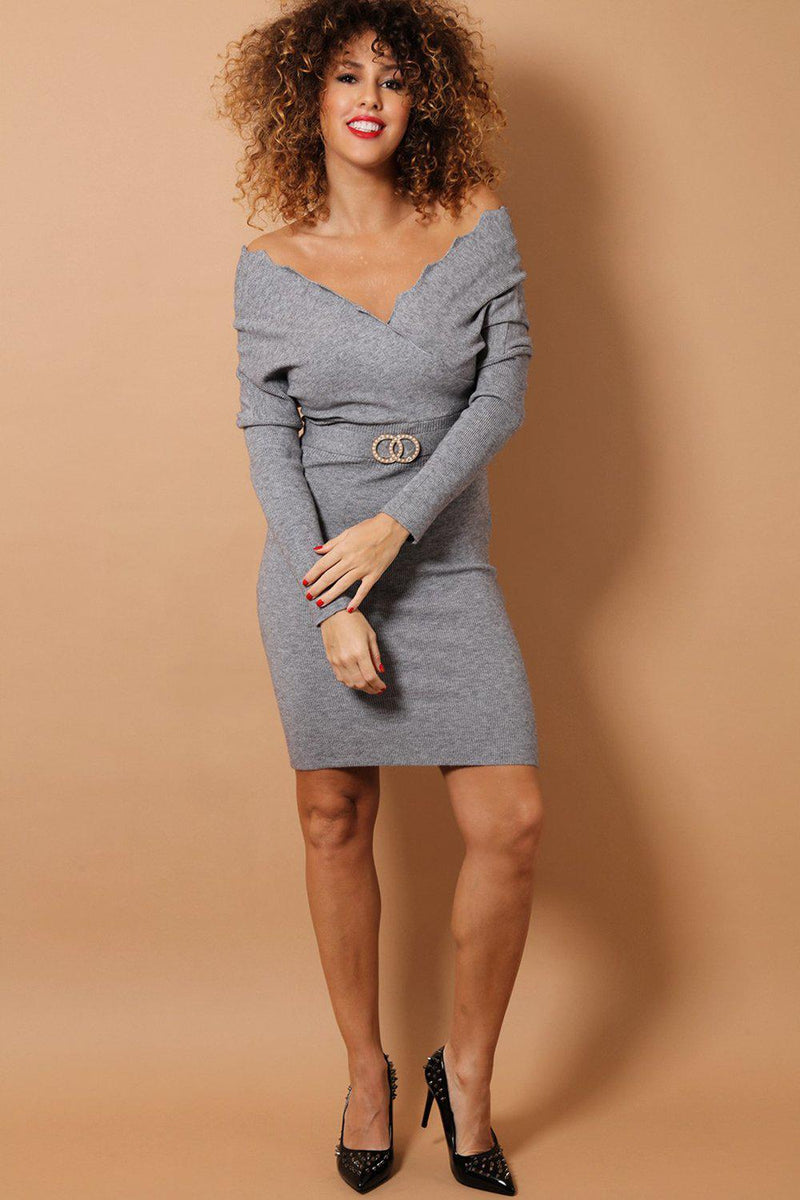Grey Scallop Wrap Neck Soft Knit Bodycon Dress - SinglePrice