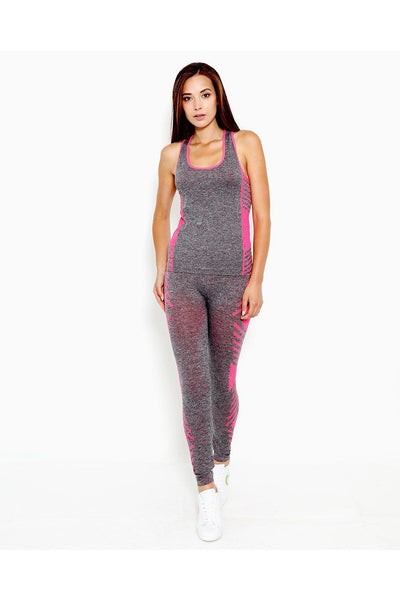 Grey Pink Top And Leggings Sports Set-SinglePrice