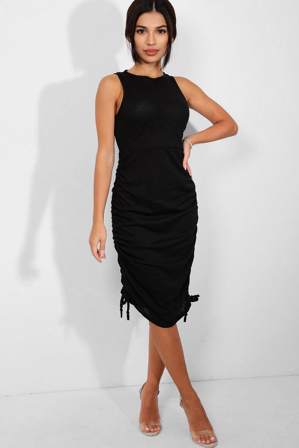 Black Side Drawstring Detail Sleeveless Midi Ribbed Dress - SinglePrice