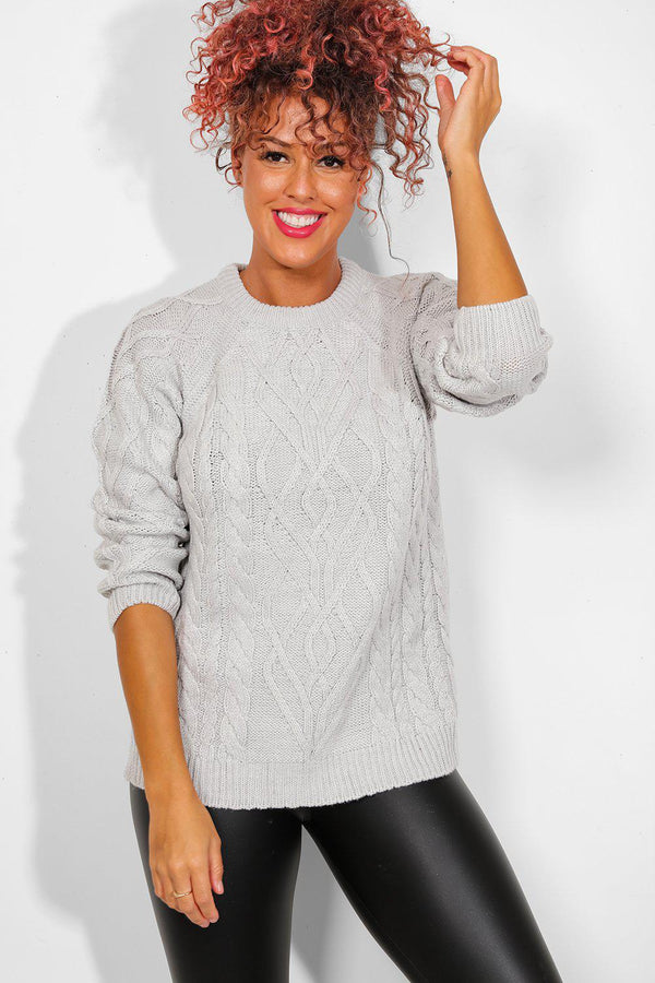 Grey Mixed Braid Knit Pullover