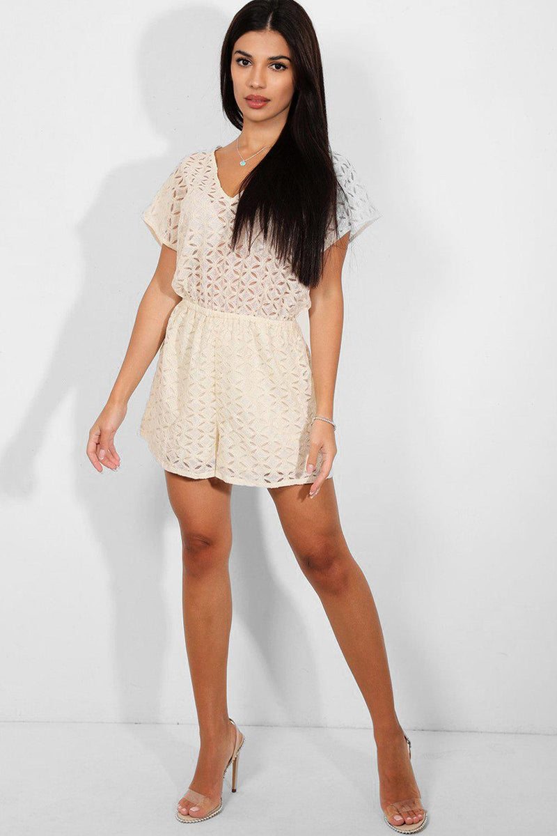 Cream Lace Open Back Playsuit - SinglePrice