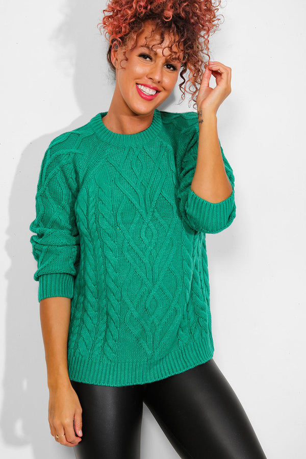 Green Mixed Braid Knit Pullover