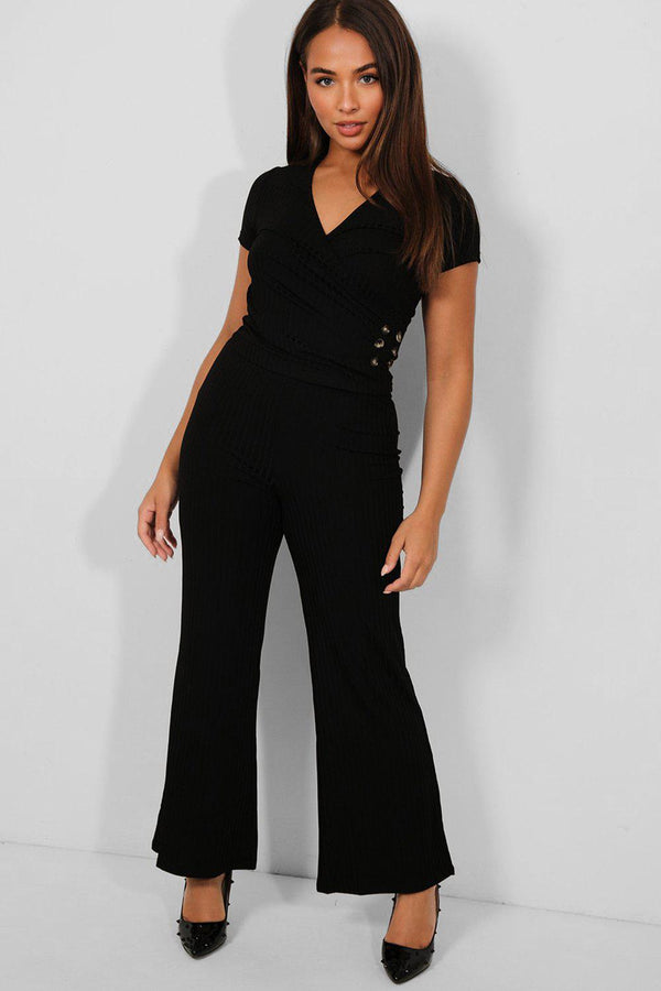 Black Button Details Wrap Top And Flared Trousers Set - SinglePrice