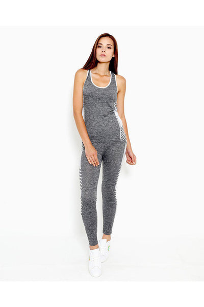 Grey White Top And Leggings Sports Set-SinglePrice
