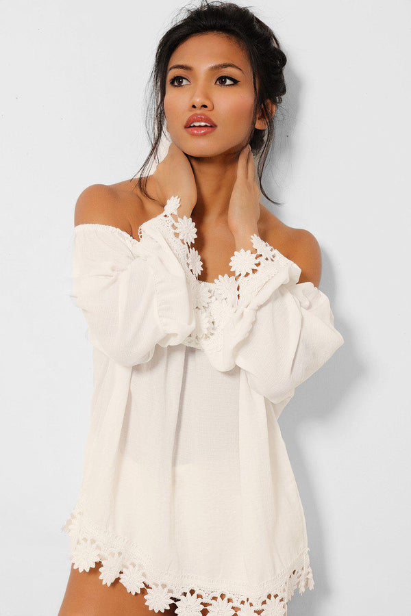 White Crochet Trims Off Shoulder Top