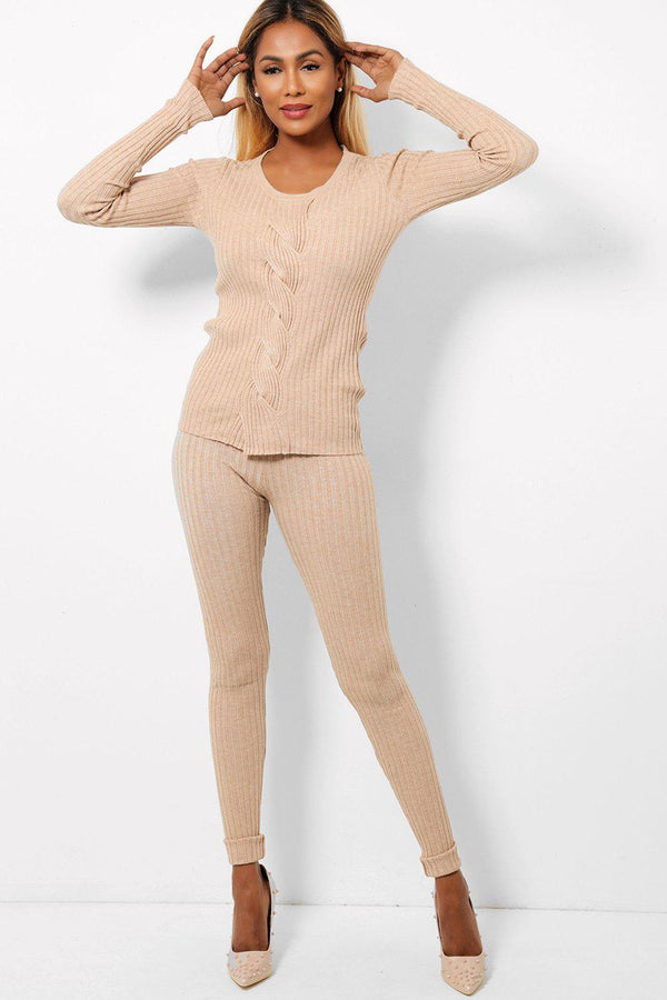 Beige Braided Detail Front Rob Knit 2 Piece Loungewear-SinglePrice