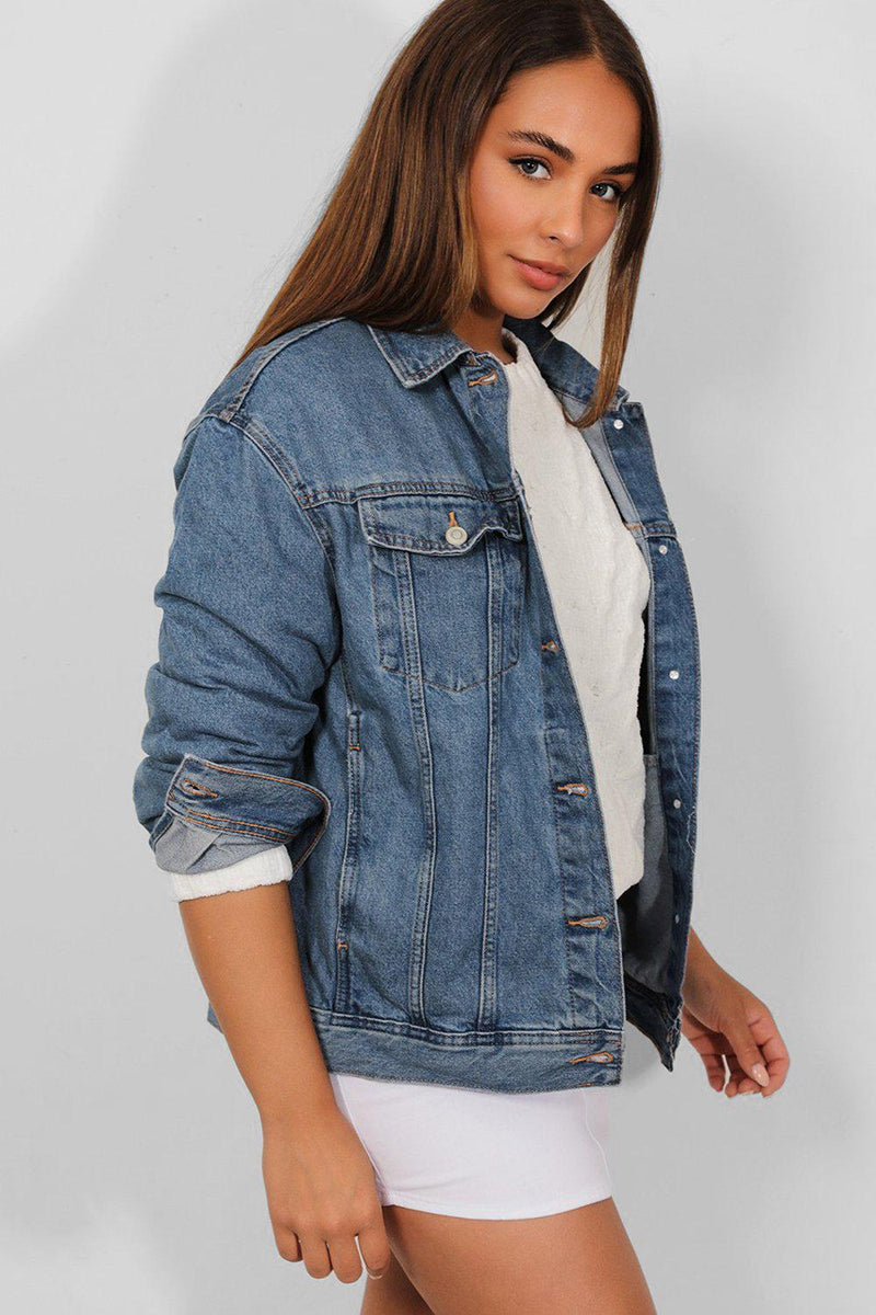 Blue Lazy Fit Denim Jacket - SinglePrice