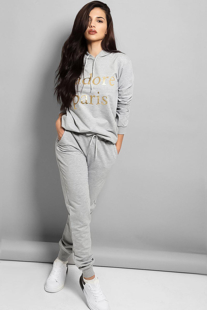 Grey Gold Slogan Hooded Cotton Blend Tracksuit - SinglePrice