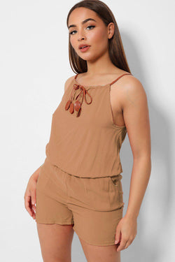 Camel 100% Cotton Lightweight Halterneck Summer Playsuit - SinglePrice