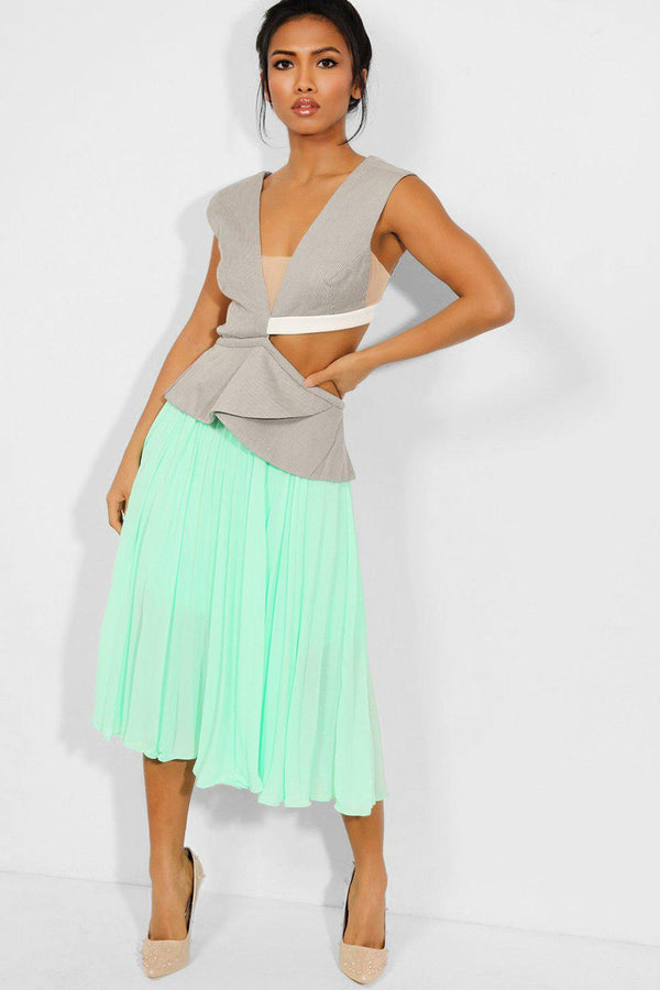 Grey Cut Out Blazer Design Green Pleated Midi Dress - SinglePrice
