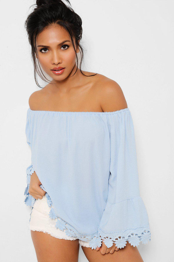 Blue Crochet Trims Off Shoulder Top